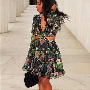 Deep Floral Cutout Dress